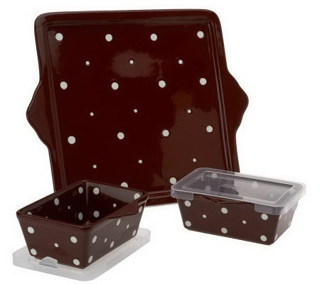 Temp-tations Polka Dot Cookie Sheet w/ 2 EZ Hold Bakers