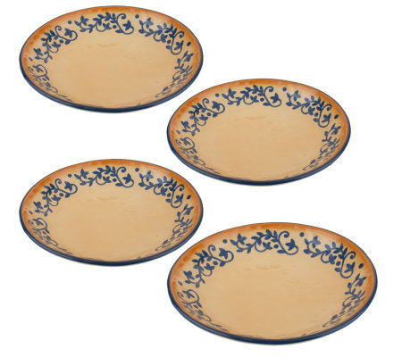 LidiaBastianich Hand Painted Set of 4 Stoneware Pasta Bowls