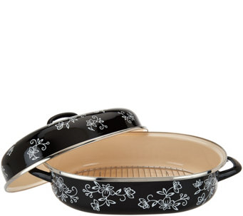 """As Is"" Temp-tations Floral Lace 16.5"" Oval Covered Roaster - K307680"