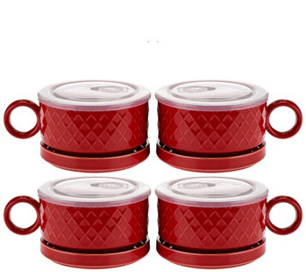 Microwavable S/4 Ceramic Soup Bowls & Saucers with Microwave Lids - K43080
