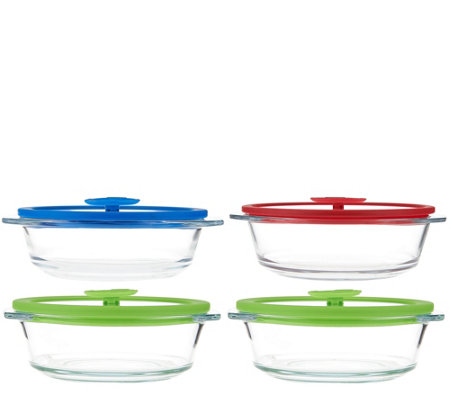 CooksEssentials 4-Piece Multi-Color Glass Baking & Serve Set