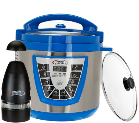Power Pressure Cooker XLColors 6 qt. Digital w/ Glass Lid & Power Chopper
