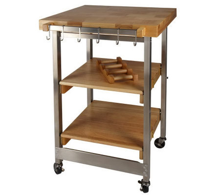 folding island kitchen cart wbutcher block style top u0026 ss accents
