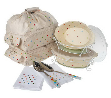 Temp-tations Polka Dot 10-pc. Set with 2 Tasty Totable Bags