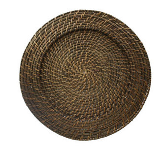 "Charge It! by Jay 13"" Set of 4 Brown Rattan Charger Plates - K297482"