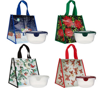 Lock & Lock Set of 4 Bowls with Holiday Gift Bags - K44782