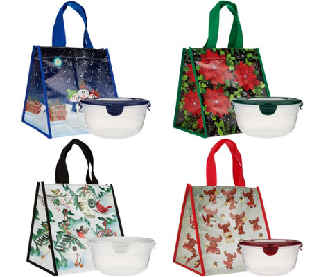 Lock & Lock Set of 4 Bowls with Holiday Gift Bags