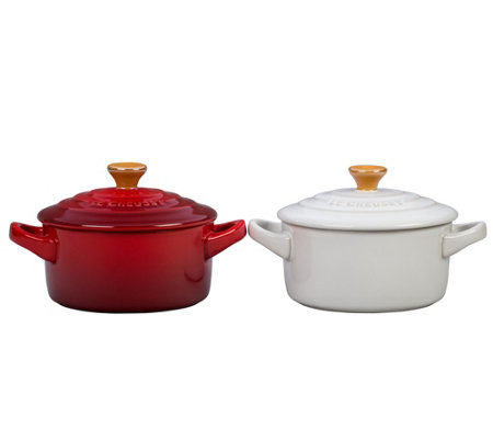 Le Creuset Red and White 8-oz Mini Cocotte Setwith Gold Knob