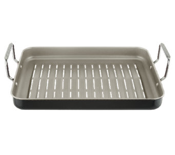 """As Is"" Cooks Essentials 16"" x 12"" Nonstick Rectangle BBQ Grill Pan - K307184"