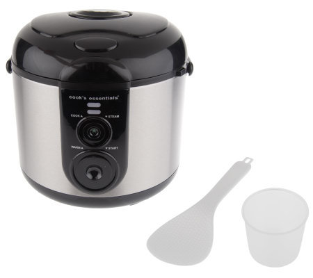 CooksEssentials 5.5cup Nonstick Stainless Steel Rice Cooker/ Multi Cooker