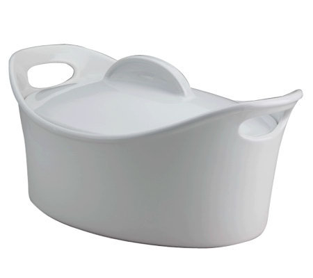 Rachael Ray Stoneware 4.25-Qt Covered Oval Casserole - White