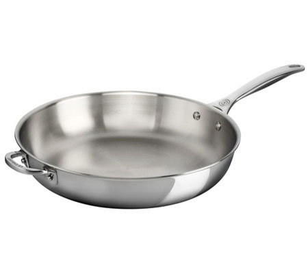 "Le Creuset 12-1/2"" Deep Stainless Steel Fry Pan"