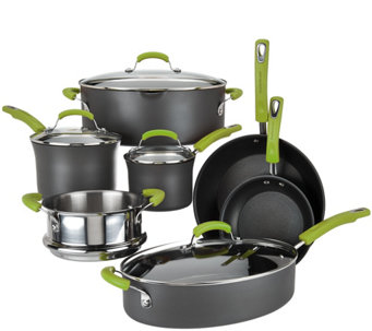 """As Is"" Rachel Ray 11-Piece Hard Anodized Dishwasher Safe Cookware Set - K307686"