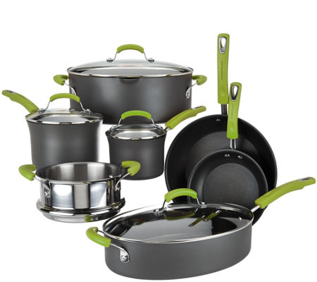 """As Is"" Rachael Ray 11-Piece Hard Anodized Dishwasher Safe Cookware Set"