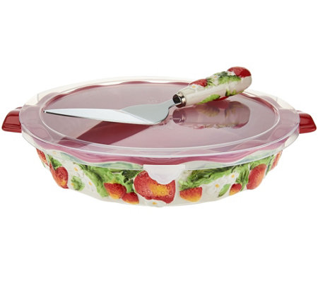 Temp-tations Figural Fruit Pie Dish with Server