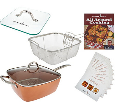"Copper Chef XL 11"" Square Pan with 4-Piece Cooking System & Recipes - K45086"