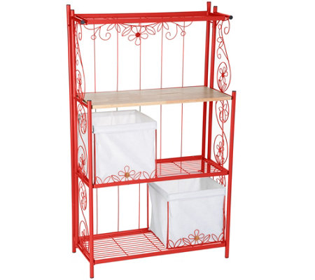 """As Is"" Temp-tations Collapsible Baker's Rack with Baskets"