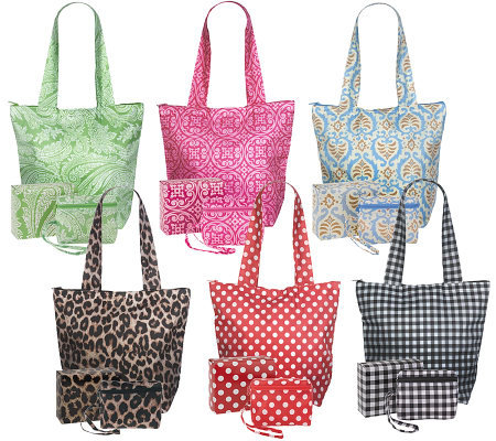 Sachi Set of 6 Insulated Folding Market Totes w/ Gift Boxes