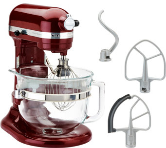 KitchenAid 6-qt 575 Watt Glass Bowl Lift Stand Mixer w/ Flex Edge & Recipes - K44687