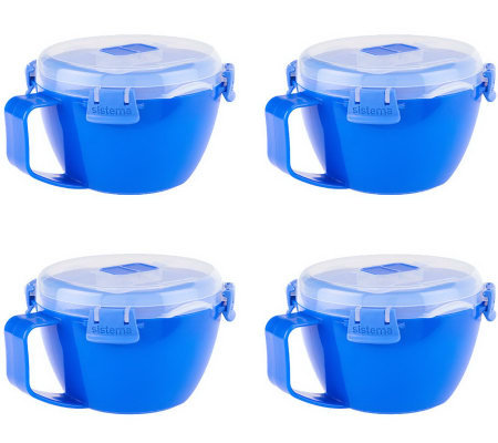 Sistema Set of 4 Klip It Microwave Soup Bowls