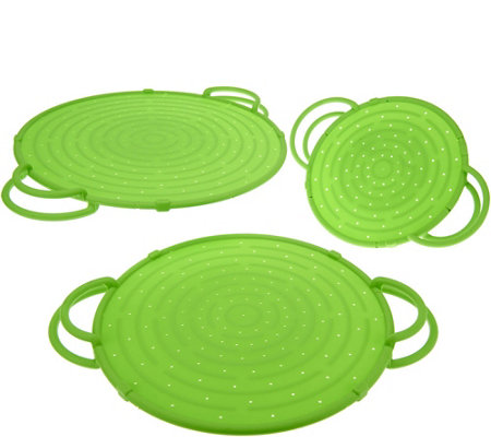 CooksEssentials Set of 3 Splatter Guards w/Stand Up Handle