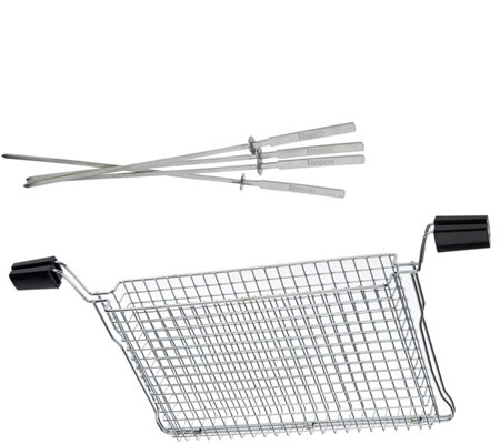 Ronco Ready Grill All Purpose Mesh Basket w/ Four Kabob Rods