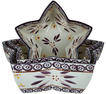 Temp-tations Old World Set of 3 Star Shaped Nesting Bowls - K43989