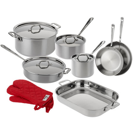 All-Clad Tri-Ply Stainless Steel 13-piece Cookware Set