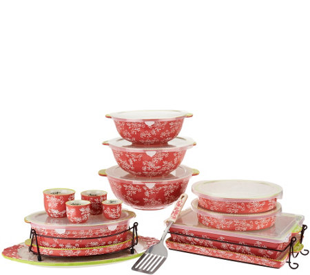 Temp-tations Floral Lace Spring Colors 18-pc Bake and Serve Set