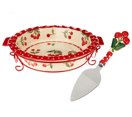 Temp-tations Cherry Jubilee 9\  Pie Dish with Wire Rack  sc 1 st  QVC.com & Temp-tations Cherry Jubilee 9\