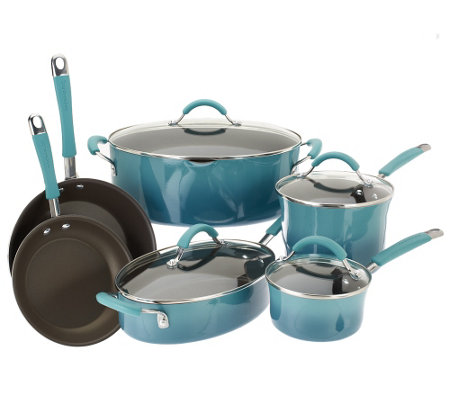 """As Is"" Rachael Ray Gradient Rustica 10-pc Cookware Set"