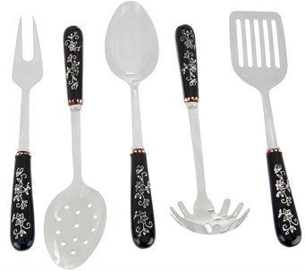 """As Is"" Temp-tations Floral Lace 5pc Stainless Steel Utensil Set - K307391"
