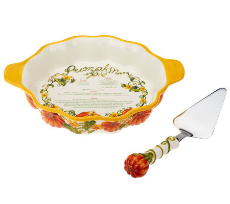 Temp-tations Figural Pumpkin Pie Dish with Server