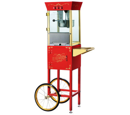 Red Matinee Movie 8-oz Antique-Style Popcorn Machine and Cart