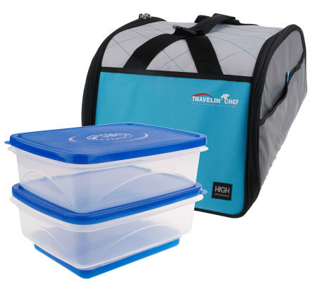 Travelin' Chef Domed Food TransportSystem w/Divider Tray & 2 Containers