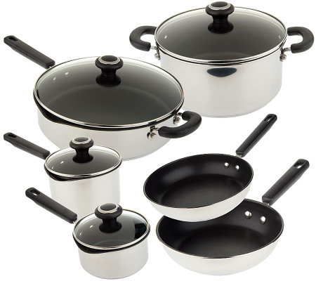 CooksEssentials Stainless Steel Nonstick 10-piece Cookware Set
