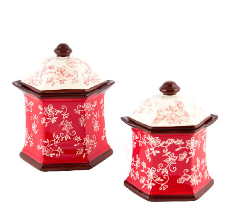Temp-tations Floral Lace Set of 2 Canisters