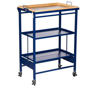 """As Is"" Temp-tations FL Folding Kitchen Cart w/ Removable Tray - K307592"