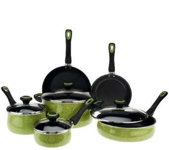 CooksEssentials 10-Piece PorcelainEnamel Speckled Cookware Set - K41692