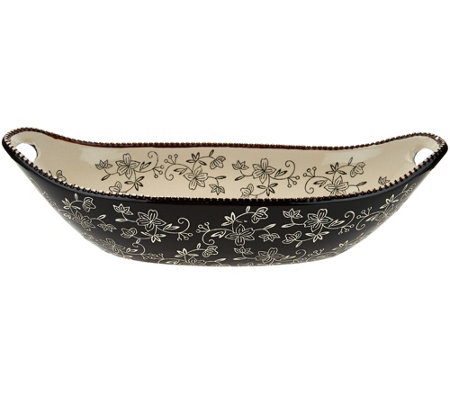 "Temp-tations Floral Lace 15"" x 7"" Oval Centerpiece Bowl"