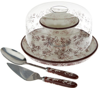 "Temp-tations Floral Lace 12"" Convertible Cake Stand Set - K43892"