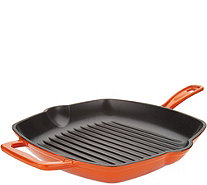 "Cook's Essentials 11"" Square Cast-Iron Grill Pan - K46692"