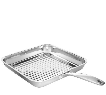 "OXO Stainless Steel Pro 11"" Square Grill Pan — QVC.com"