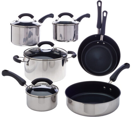 CooksEssentials 11-pc Stainless Steel Dishwasher Safe Cookware Set