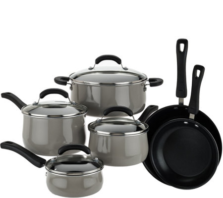 """As Is"" Cooks Essentials 10pc Dishwasher Safe Porcelain Cookware Set"