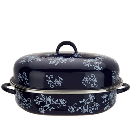 """As Is"" Temp-tations Floral Lace Oval Covered Roaster w/ Rack"