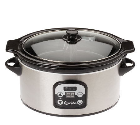 SlowCooker Mate 6 Quart Slow Cooker w/ Side Dish Divider Insert