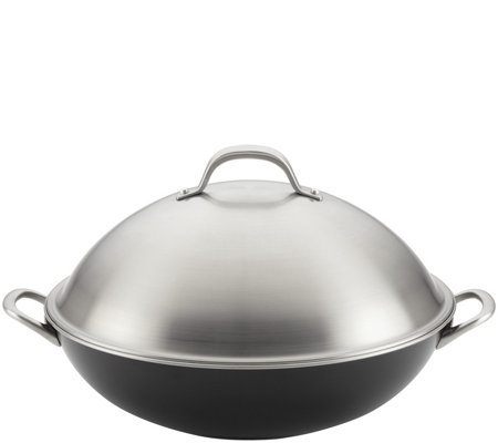"Circulon Ultimum 13.75"" Forged Aluminum Nonstick Covered Wok"