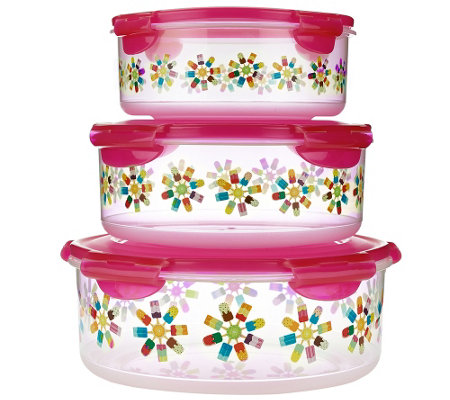 Lock & Lock 3pc Round Canister Set w/ Popsicle Print