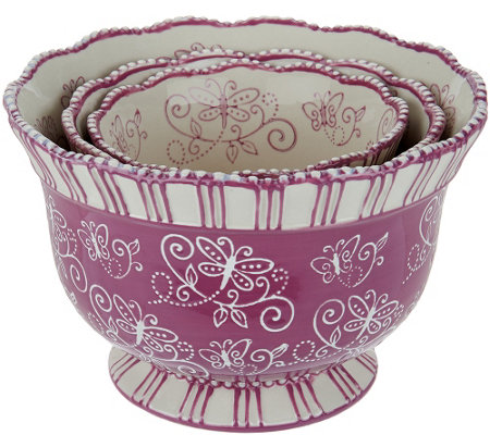 Temp-tations Floral Lace Set of 3 Pedestal Bowls